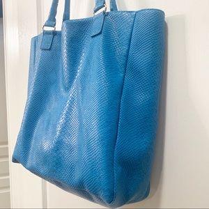 Neiman Marcus Bags - Nieman Marcus Faux Snake Large Blue Tote